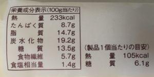 ローソンの糖質オフのしっとりパンたまごの栄養成分表示