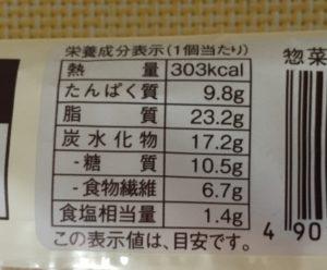ローソンのブランのソーセージデニッシュの栄養成分表示