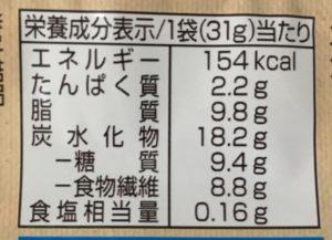 ローソンのSUNAOチョコチップの栄養成分表示