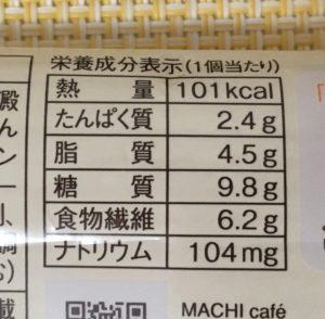 ローソンのブランのミルクスコーンの栄養成分表示