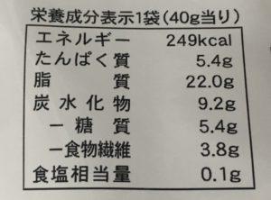 ローソンのくるみとココナッツのキャラメリゼの栄養成分表示