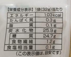 ファミマのジューシーパイナップルの栄養成分表示