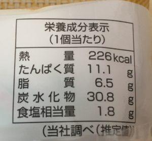 ファミマのピザサンド バターチキンカレーの栄養成分表示