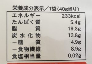 ローソンのアーモンドチョコレート(イヌリン使用)の栄養成分表示
