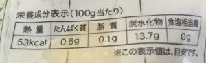 ファミマのドール スウィーティオ カットパインの栄養成分表示