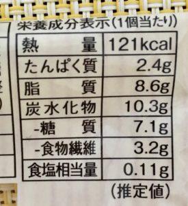 ローソンのブランのショコラケーキの栄養成分表示