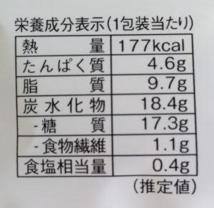 ローソンの生ブッセ(チーズ&カスタード)の栄養成分表示