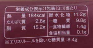 ローソンの糖質を考えたプチエクレアの栄養成分表示