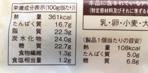 ローソンのプロテイン入りチーズ蒸しケーキ 2個入の栄養成分表示