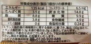 シルビアのほうじ茶ドーナツの栄養成分表示
