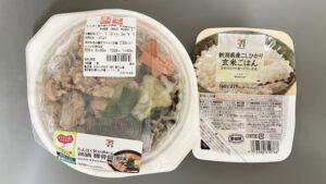 セブンのたんぱく質が摂れる 鶏鍋 豚骨醤油味を組み合わせたランチ
