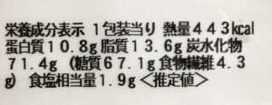 セブンの牛ごぼう飯の栄養成分表示