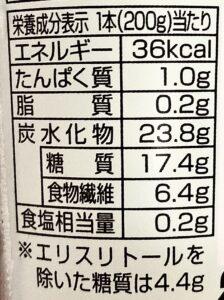 ローソンのグリーンスムージー Off&Plusの栄養成分表示