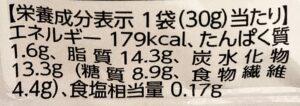 セブンの低糖質ココナッツチョコレートの栄養成分表示